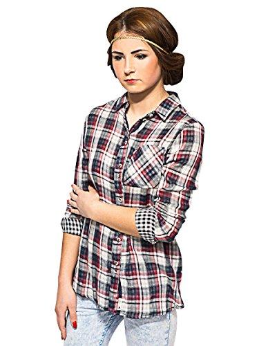 Donna Bell field camicia a quadretti | Regular Fit Slouchy Designer camicia a maniche lunghe | XS S M L