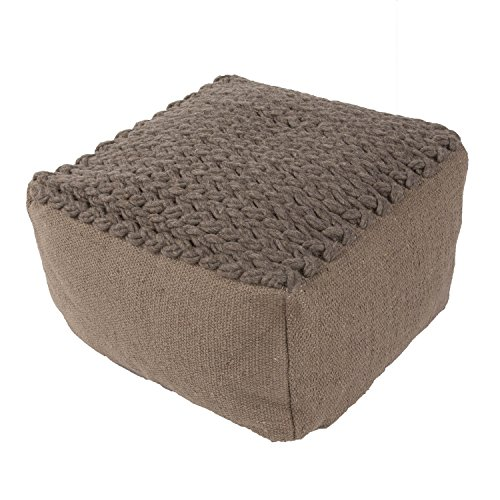 "Jaipurrugs Furniture Decor Ottomans Handmade Scan02 Wool Taupe/Tan Pouf Border Color Graphite 23""X23""X13"""