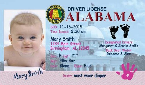 Personalized Baby Drivers License (set of 20) Birth Announcement-Alabama