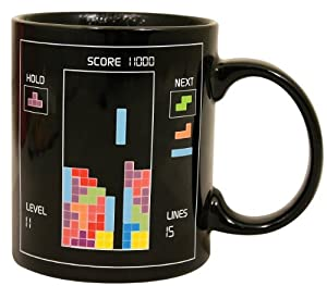 Umiwe(TM) Black Tetris Heat Temperature Sensitive Color Change Mug Glass Cup With Umiwe Accessory Peeler