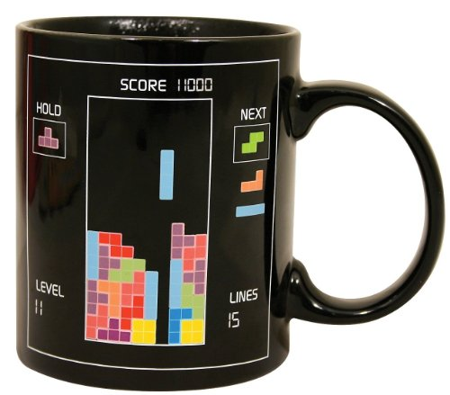 Umiwe(TM) Black Tetris Heat Temperature Sensitive Color Change Mug Glass Cup With Umiwe Accessory Peeler