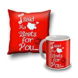 I Sad My Beats For You Red Cushion Cover And Coffee Mug Combo