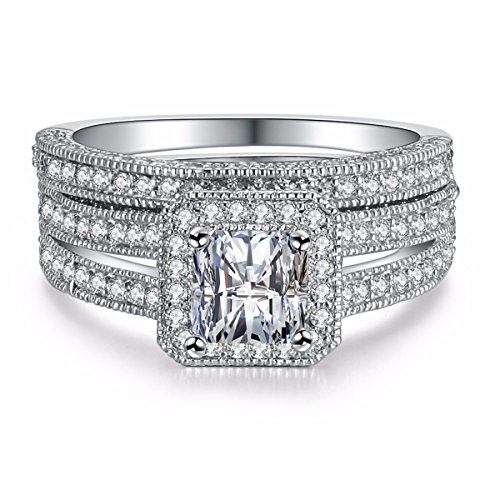 Caperci Sterling Silver Princess-Cut Cubic Zirconia Halo Solitaire Bridal Wedding Engagement Ring Sets Size 9