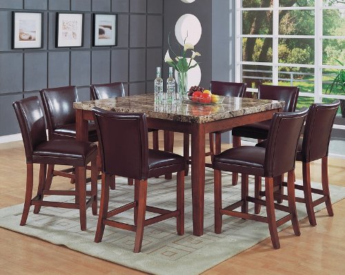 9pcs Granite Top Counter Height Dining Table & 8 Stools Set