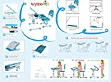 Wymo Kids Ergonomic Adjustable Childrens Desk & Chair With Drawing Paper Roll (Blue)