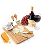Cheese Board Set - Set Includes 1 Large & 4 Small Cheese Serving Forks & 2 Cheese Spatulas - Plus Porcelain Dish for Sauces & Condiments by Decodyne