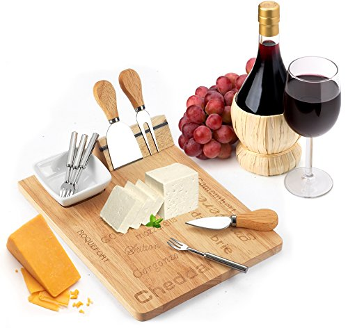 Cheese Board Set - Set Includes 3 Piece Cheese Knife Set & 4 Small Cheese Serving Forks - Plus Porcelain Dish for Sauces & Condiments by Decodyne (Cheese Board compare prices)