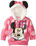 Disney Baby-Girls Infant Minnie Mouse Polka Dot Fleece Hoodie, Pink, 24 Months