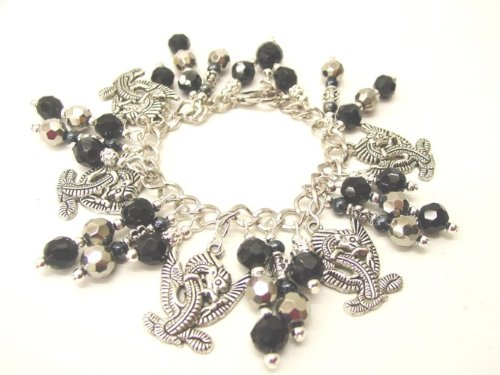 Chic Wrists Dragons Bracelet Black Metallic Glass Beads Dragon Tattoo Charm Bracelet with Free Earrings
