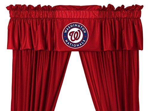 Washington Nationals 4 Piece KING Comforter Set and One Matching Window Valance (1 Comforter, 2 Shams, 1 Bedskirt, 1 Matching Window Valance) SAVE BIG ON BUNDLING!