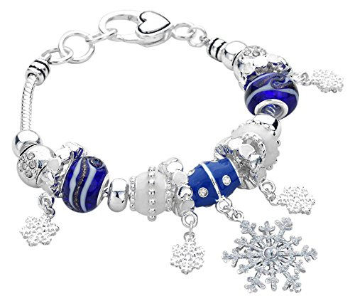 Blue and White Glass Crystal Accented Beads with