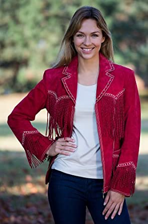 Women's Winona Studded Fringe Leather Jacket, CARDINAL, Size XXLARGE (16)