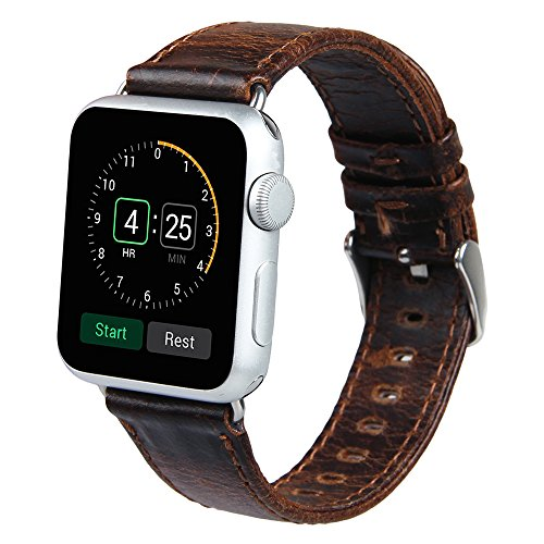 V-Moro Apple Watch leather Band, 42mm Genuine Leather iWatch Strap Vintage Crazy Horse Replacement Smart Watch wristband for for Apple Watch iWatch All Models (Vintage Crazy Horse-Coffee 42mm) 1