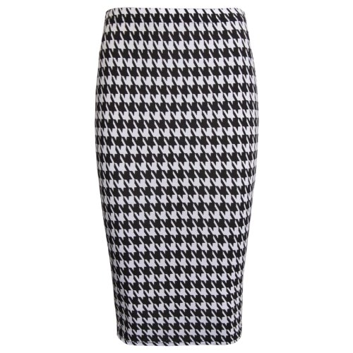 Womens Black and White Dogtooth Print Midi Pencil Skirt