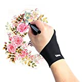 Litup Artist Glove with Two Fingers for Wacom Graphics Tablet Monitor Pen Display Light Box Free Size Anti-fouling Glove Left or Right Hand