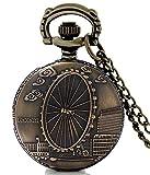 #4: LMP3Creation Fashion Classical Bronze Vintage Retro Antique Look Victorian Style London Souvenirs London eye ferris Millennium wheel Pocket Watch - Unisex Pendant Necklace Watch (POW-0179)