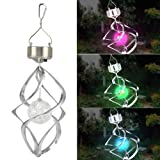 Outdoortips Solar Powered Color Changing Wind Spiral Christmas Tree Lights Outdoor Led Light