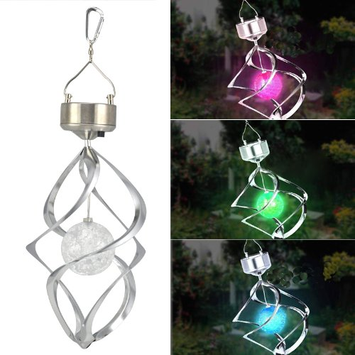 Sodial(R) Solar Powered Spiral Wind Spinner With Colour Changing Led Light Garden Ornament
