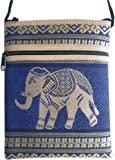 Travel neck wallet with elephant / blue. 12,5 x 16,5 cm (w x h); strap length: 116 cm