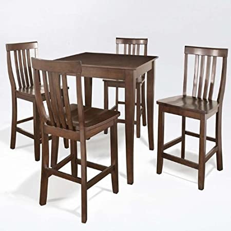 5 Pc Pub Dining Set w School House Stools in Mahogany