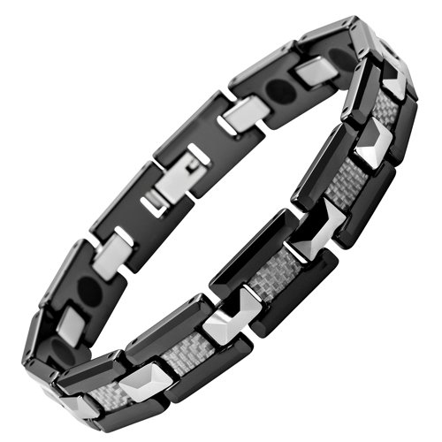 New Mens Willis Judd Polished Black Tungsten & Ceramic Magnetic Bracelet with Silver Carbon Fibre In Free Black Gift Box And Free Link Removal Tool