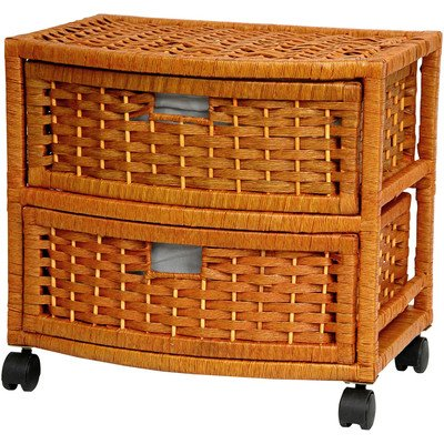 Oriental Furniture Great Best Design Inexpensive Nightstand End Tables, 16-Inch 2 Drawer Natural Fiber Wicker Style Storage Chest with Casters-Honey