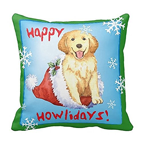 Buy or buy Happy Holiday Golden Retriever Throw Pillow Case 18x18Inch