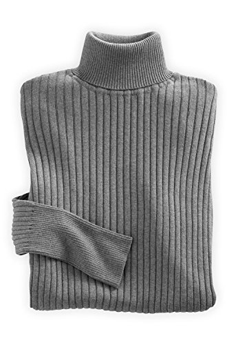 Fair Indigo Fair Trade Ribbed Turtleneck Sweater (Xl, Grey Heather) front-564386