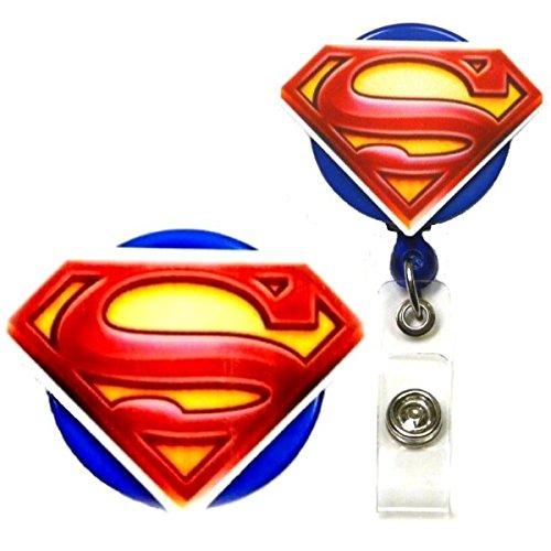 Superman Inspired Symbol Decorative ID Badge Holder (Swivel Alligator) (Superman Clip compare prices)