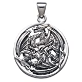 Sterling Silver Eternal Circle Triple Dragon Pendant- Free Chain