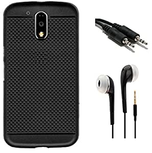 Tidel Exclusive Dotted Matte Finish Soft Back Cover for Moto G Play 4th gen (Motorola Moto G4 Play)( Black ) With 3.5mm Handsfree Earphone & Aux Cable