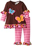 Rare Editions Baby Baby-Girls Infant Brown Pink Striped Legging Set