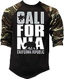 California Republic Men's Baseball Raglan Camo-Black S-3XL