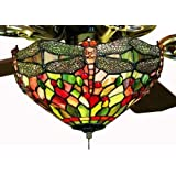 Amber Dragonfly Tiffany Stained Glass Ceiling Fan 52 Inches Width