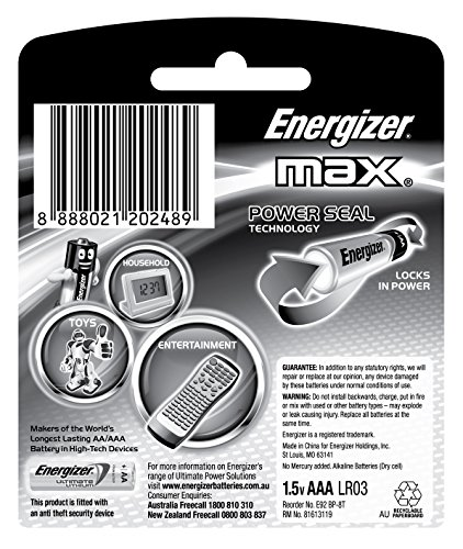 Energizer MAX Alkaline Battery E92BP8 AAA Value Pack - Total 8 AAA Batteries