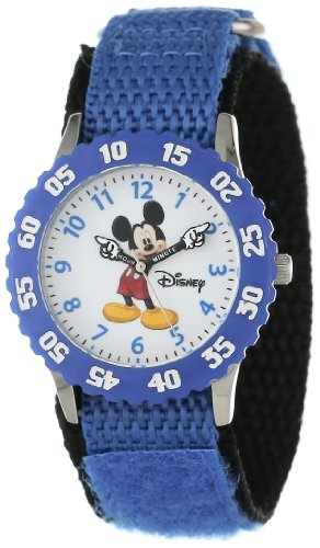 Disney Kids' W000228 Mickey Mouse Stainless Steel Time Teacher Watch with Moving Hands