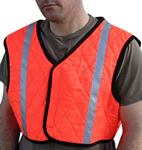 Cool Medics M1865-OR-MD Orange Contractors Cropped Cooling Vest With Reflective Stripes, Medium