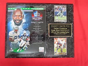 Emmitt Smith Dallas Cowboys 2 Card Collector Plaque w 8x10 HALL OF FAME Photo by J & C Baseball Clubhouse