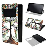 ivencase View Window Painting Art Tree Style Design PU Leather Flip Stand Case Cover for Sony Xperia Z2
