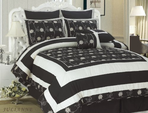 black and cream bedding grand sales cathay home 8 piece top of bed