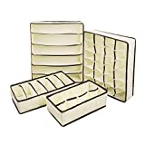 MIU COLOR Collapsible Storage Boxes Bra Underwear Closet Organizer Drawer Divider 4 Set, Color: Beige