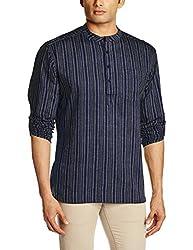 Svanik Men's Mid Thigh Cotton Kurta (SVCK1588_Medium_Blue & Grey)