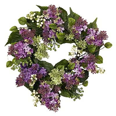 Nearly Natural 4786 Hanel Lilac Wreath, 20-Inch, Purple/Pink/Green