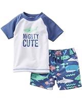 Carter's Little Boys 2 Piece Mighty Cute Rashguard Set (Nb, Blue)
