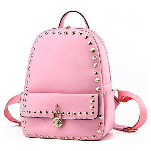 Van'an Women's Vintage Shoulder Rivets Cute Lock Backpack Bags(Pink)