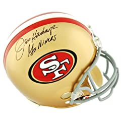 Buy Jim Harbaugh San Francisco 49ers Autographed Riddell Replica Helmet with Go Niners Inscription -... by Sports Memorabilia