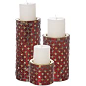 Aadyan Creations Set Of 3 Mosaic Candle Stands With 3 Pillar Vanilla Fragrance Candles - B01IP12JQI