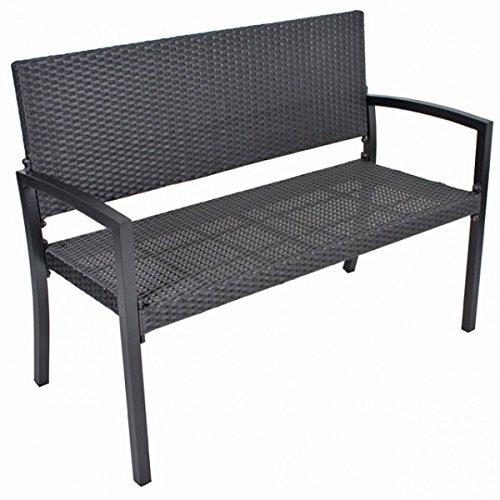 2-Sitzer-Parkbank-SAN-REMO-Alu-Kunststoffgeflecht-Bank-Gartenbank-Rattan-Optik-schwarz-Sitzbank