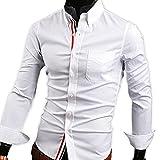 【 スマイズ スマイル 】 Smaids×Smile メンズ 長袖 Yシャツ スリム 襟 付き 柄 ドレス シャツ (ホワイト XXL)