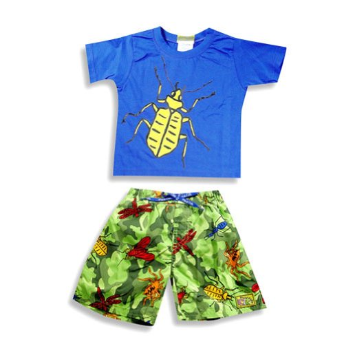 Plaid Fish - Little Boys 2 Piece Swim Set, Blue, Green 14045-2T